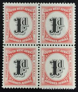 South West Africa 1931 Postage Due 1d Block of 4V MLH SG#D48 M1766