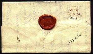 GB SCOTLAND 1831 folded entire to Edinburgh - fine OBAN handstamp..........94750