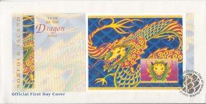 Norfolk Island 2000 FDC Sc #696 Souvenir sheet $2 Year of the Dragon