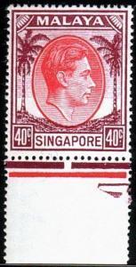 SINGAPORE 1948 GVI 40c perf 17½x18 fine mint...............................50390