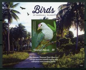 Marshall Islands 2019 MNH Birds Crimson-Crowned Fruit Dove 1v S/S Doves Stamps