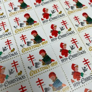1959 American Lung Association Christmas seals full sheet cute kids squirrels
