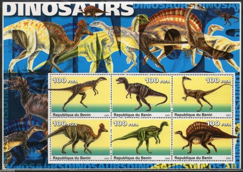 Benin 2003 Dinosaurs Pre Historic Animals Mammoth Sheetlet of 6 MNH # 9070