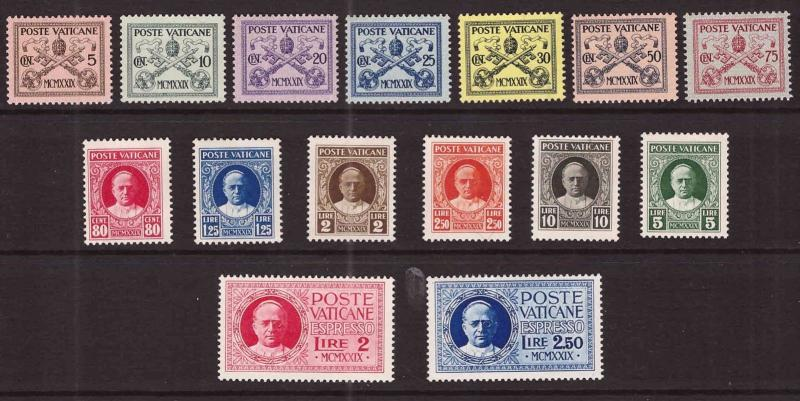 Vatican City First set, Scott 1-13, E1-2 MNH** 1929 set CV $240, nicely centered