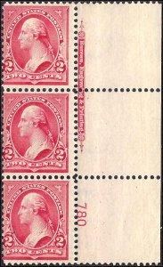 279B Mint,OG,NH... Implrint/Plate# Strip of 3... SCV $85.00