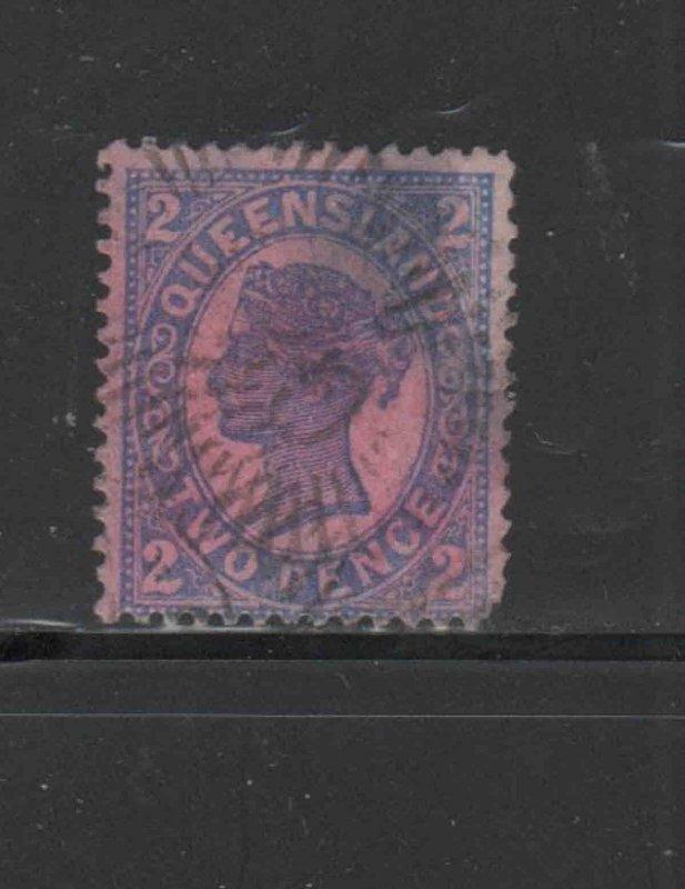AUSTRALIA-QUEENSLAND  #114  1897    2p  QUEEN VICTORIA   F-VF  USED    p
