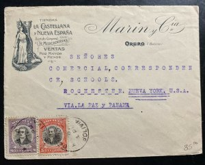 1928 Oruro Bolivia Advertising Cover To Rochester NY USA