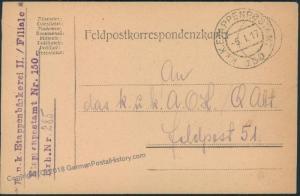 Austria WWI Bakery Nr 150 Feldpost Military Cover 48440