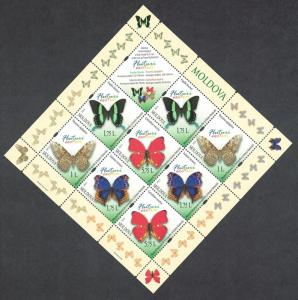 Moldova Butterflies 4v Sheetlet of 2 sets MI#838-841
