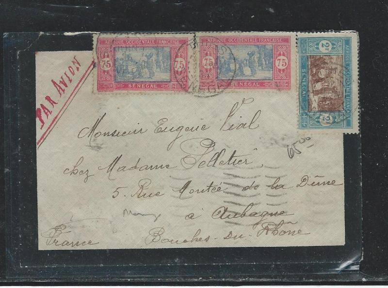 SENEGAL (P2908B) 1935   A/M  MOURNING COVER TO FRANCE