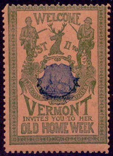 US 1901 Vermont Old Home Week Misregistered Poster Stamp (G-B-S)
