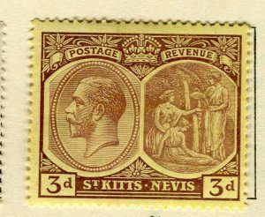 ST. KITTS; 1925-29 early GV portrait issue Mint hinged 3d. value