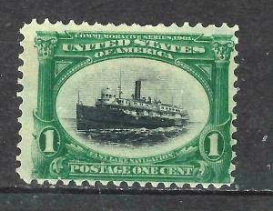 #294 US 1 CENT GREEN & BLACK-PAN-AM EXPO ISSUE-MINT-L/H-FINE-VF