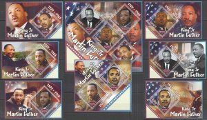 I0250 2018 GUINEA GREAT HUMANISTS MARTIN LUTHER KING !!! 7BL+1KB MNH