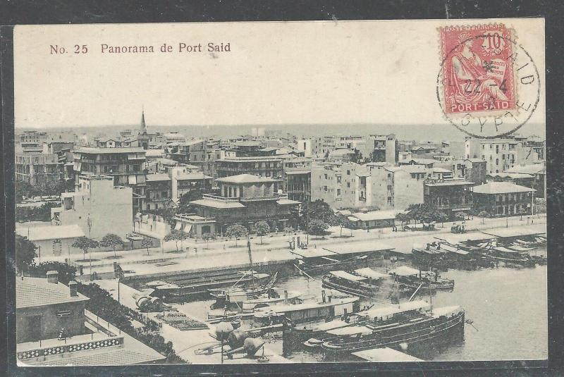 FRENCH COLONIES PORT SAID EGYPT (P2708B) 1909 10C ON PPC TO FRANCE