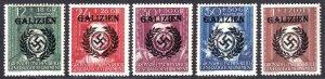 POLAND NB36-NB40 GERMANY OCC GALIZIEN OVERPRINTS OG NH U/M F/VF TO VF