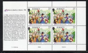 Jersey Sc 518a 1989 23p French Revolution stamp booklet pane mint NH
