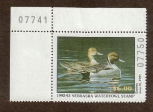 NE2 - Nebraska  State Duck Stamp. MNH. OG. Plate Numbered Single.