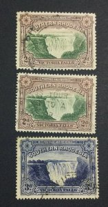 MOMEN: SOUTHERN RHODESIA #35,35a,35b 1935-41 USED £22 LOT #6847
