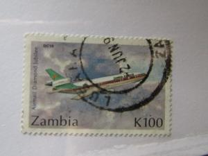Zambia SC #581 DC 10 Airmail Diamond Jubilee used stamp