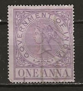 India, Govt of. 1 Anna Fiscal Stamp