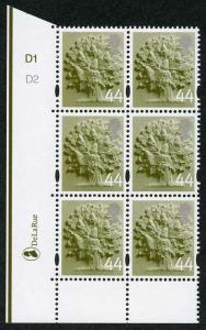 SGEN11b England 44p white borders cyl D1D2 no dot block HEAD TYPE 1 U/M