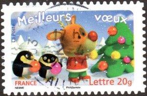 France 3264 - Used - (54c) Christmas Tree /Reindeer / Penguins (2006) (cv $3.30)
