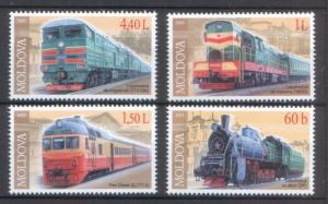 Moldova 2005 Locomotives Trains / Railroads 4 MNH stamps