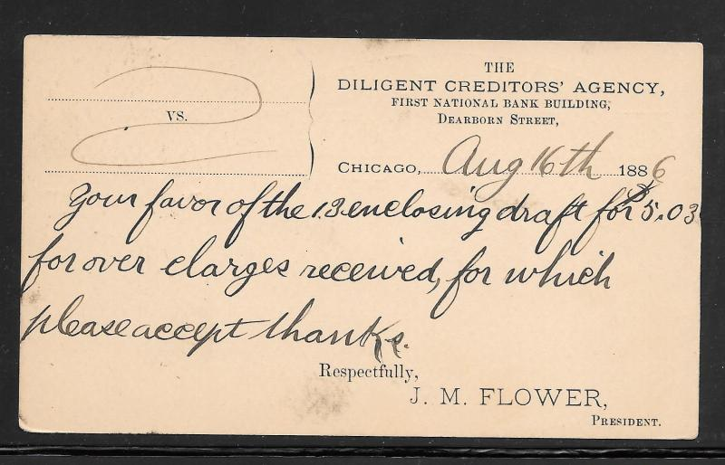 #UX8 CHICAGO ILL. AUG/15/1886 3 Duplex Cancel (my1054)