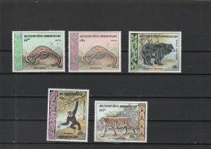 Laos  Scott#  192-3, C59-61  MNH  (1969 Fauna)