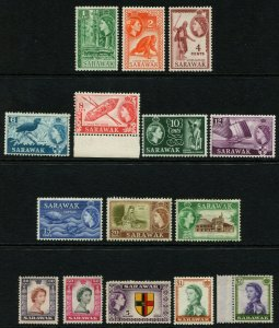 Sarawak Stamps 1955/59 SG188/20  set x 15 Fair/Good MM  Cat £100