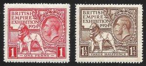 Doyle's_Stamps: MNH 1924 British Empire Expo Set, Scott #185** & #186**     (d1)