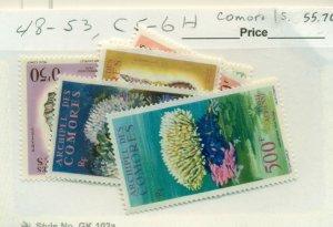 COMORO ISLAND #48-53, C5-6, Mint Hinged, Scott $55.70