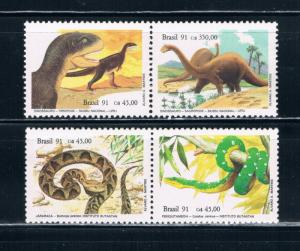 Brazil 2316-19 MNH set Snakes and Dinosaurs (B0357)
