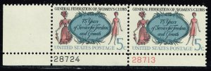 US STAMP # 1316 –1966 5c Women's Clubs COLOR SHIFTED ERROR MNH/OG PL# PAIR