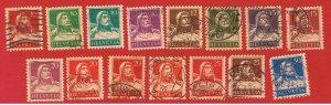 Switzerland #167-180  VF used William Tell  complete set  Free S/H