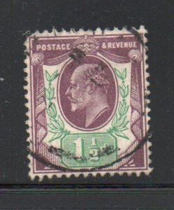 Great Britain Sc 129 1902 1 1/2d violet & green Edward VII stamp used