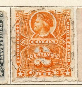 Chile 1877 Early Issue Fine Used 2c. NW-11396