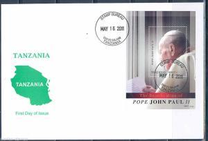 TANZANIA  BEATIFICATION OF POPE JOHN PAUL II  SOUVENIR SHEET   FIRST DAY COVER