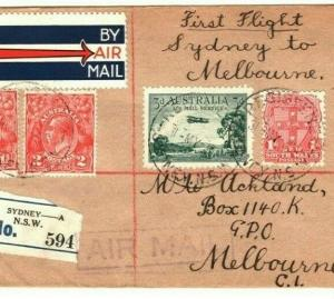 AUSTRALIA Air Mail First Flight Cover Sydney Melbourne 1930 {samwells} PA30