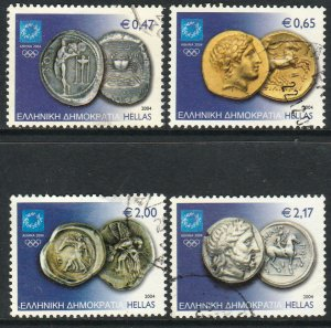 GREECE 2113-2116, OLYMPIC COINS, USED. F-VF. (429)