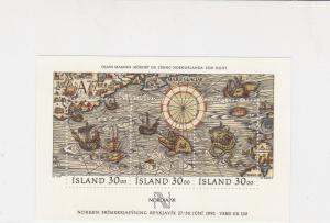 Iceland 1991 Old Map ships scene Mint Never Hinged Stamps Sheet ref R 17707