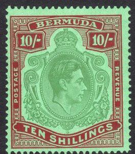 1938 Bermuda KGVI King George VI 10/ MLH Sc# 126b perf 14 CV $225.00
