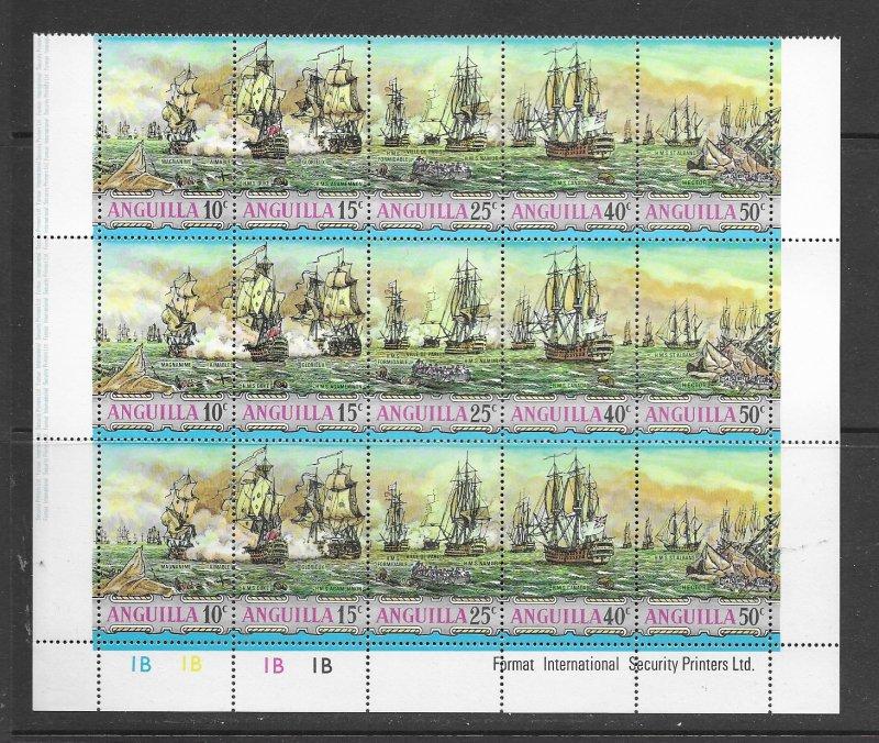 Anguilla 131a MNH strips of 5 x 3, f-vf, see desc. 2020 CV$ 24.75