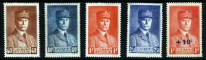 FRANCE 1940 The Marshal Petain Set + Surcharged Issue SG 690 - 693 & SG 704 MINT