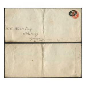 EP37 QV 1/2d Vermilion Post Office Issue Envelope Size I Flap at Right Used
