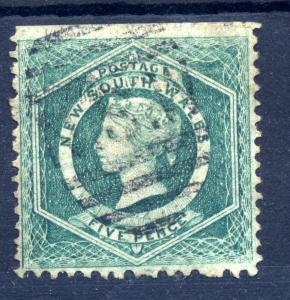 Australia New South Wales sg 142 5d dull green fine used