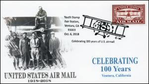 18-382, 2018, Air Mail 100 years, Pictorial Postmark, Event Cover, Ventura CA