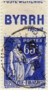 FRANCE - 1937 Pub BYRRH (réjouit) supérieure sur Yv.365b 65c Paix Obl. TB