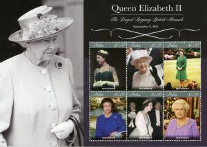 Palau Royalty Stamps 2015 MNH Queen Elizabeth II Longest Reigning Monarch 6v M/S